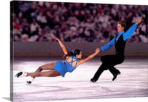 Great BIG Canvas Gallery-Wrapped Canvas entitled Figure skating pair performing in front of crowd