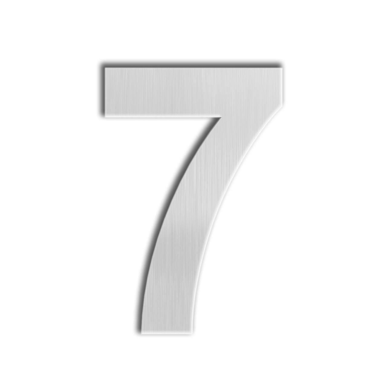 Qt modern house number super large 12 inch brushed stainless steel number 7 seven floating appearance easy to install and made of solid 304