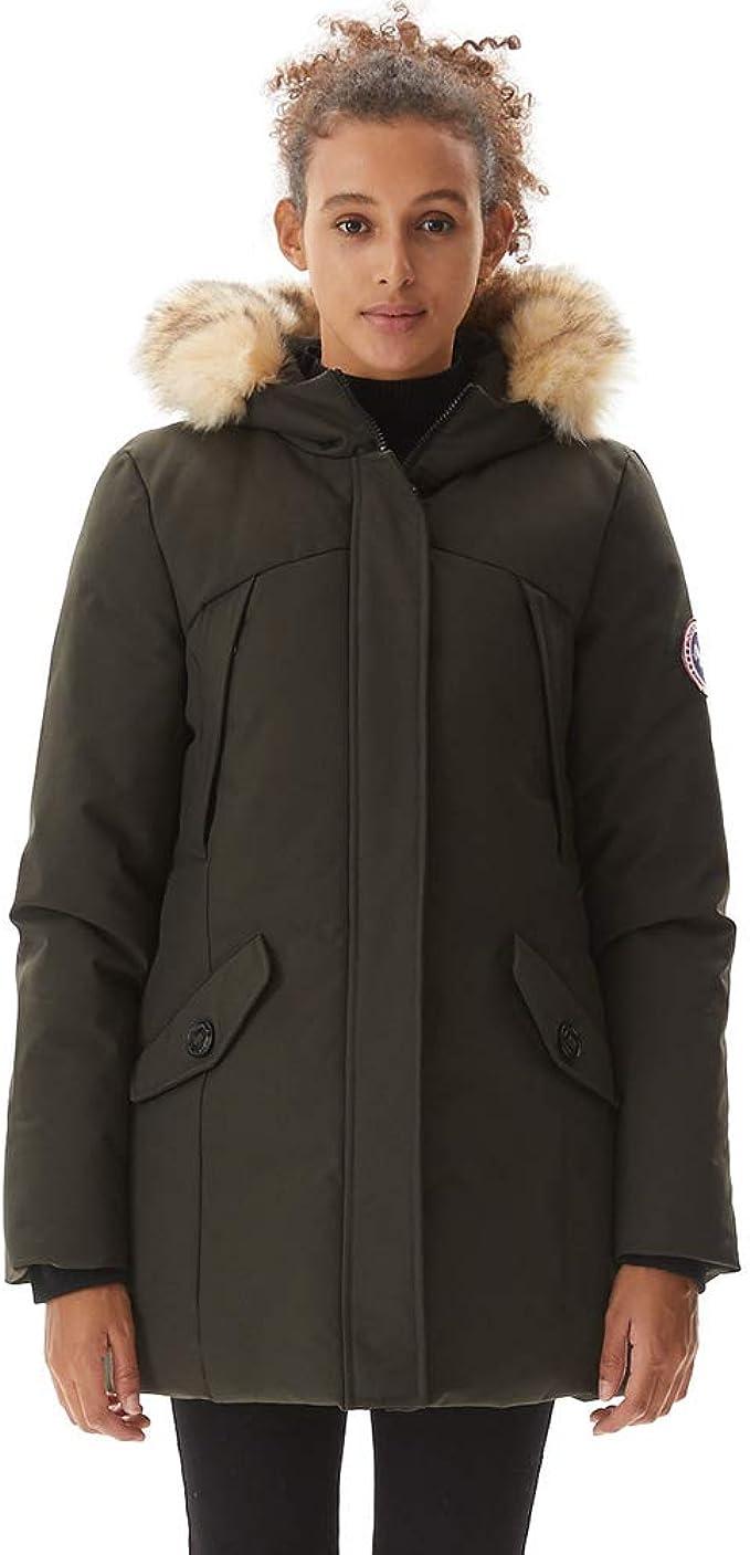 Womens Long Hooded Padded Down Coat Winter Puffer Parka Body Warmer Zip Pockets Waterproof Thickened Jacket Overcoat for Outdoors Walking