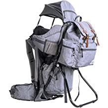 Clevr Urban Explorer Hiking Baby Backpack Child Carrier, Heather Gray - Lightweight with Stylish Detachable Bag & Sun Cover for Cross Country Hikes
