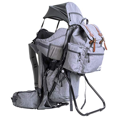 Clevr Urban Explorer Hiking Baby Backpack Child Carrier, Heather Gray - Lightweight with Stylish Detachable Bag & Sun Cover for Cross Country Hikes | 1 Year Limited Warranty ()