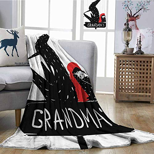 Homrkey Lightweight Blanket Red and Black Cartoon Girl with Cape and Sketchy Evil Wolf Fairytale Kid Decor Bedroom Warm W70 xL84 Charcoal Grey and White]()