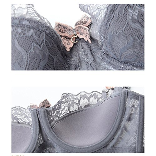 Yisqzjzj trendy Women's Push Up Embroidery Bras Set Lace Lingerie Bra and Panties, Size 34C, Grey (Stools Bar Ikea Outdoor)