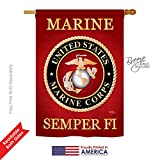 Breeze Decor – Marine Corps Americana – Everyday Military Impressions Decorative Vertical House Flag 28″ x 40″ Printed In USA Review