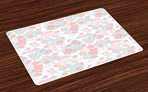 Ambesonne-Doodle-Place-Mats-Set-of-4-Cartoon-Styled-Cute-Cats-Bats-and-Skulls-Japanese-Inspired-Kawaii-Design-Washable-Fabric-Placemats-for-Dining-Room-Kitchen-Table-Decor-Pale-Pink-Pale-Blue