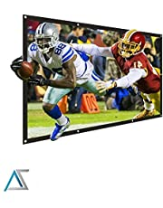 """Akia Screens 120 inch Projector Screen 16:9 Foldable Anti-Crease Portable Screen Support Double Sided Projection for Outdoor Indoor 120"""" Home Movie Theater or Christmas Window Decor, AK-DIYOUTDOOR120H"""
