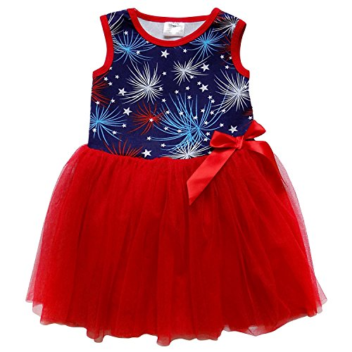 - So Sydney Toddler Girls Tank Top Style Chiffon Tulle Layered Spring Summer Dress (S (3T), America Fireworks)