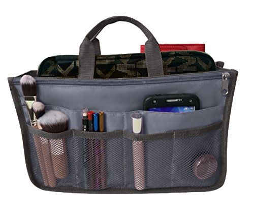 RW Collections Handbag Organizer, Liner, High Quality Nylon Multi-Pocket Purse Bag Travel Organizer Insert, 13 Compartments - Extra Large (Grey)