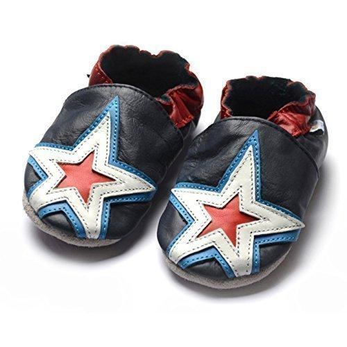 jinw–diseñado por amsomo–Estrellas Zapatillas de suela suave–azul marino–Zapatillas de cuero–zapatos de bebé Azul - azul