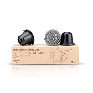 RECAPS Refillable Capsule BPA Free Coffee Pods Reusable 100 Times Compatible with Nespresso Original Line Machines 3 Pack Black(Free Brush and Spoon)