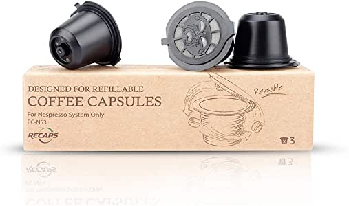 RECAPS Refillable Coffee Pods Reusable Filters Compatible with Nespresso Original Line Machines 3 Pack Black