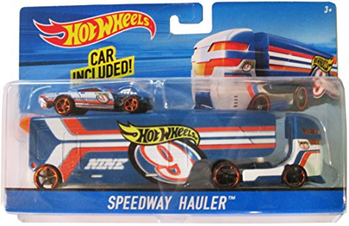 Hot Wheels City Rig - Speedway Hauler Blue, Orange, White Transporter & (Hot Rigs)