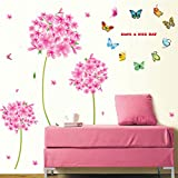 Pink Flowers Blue Butterflies Wall Decal Home Sticker House Decoration WallPaper Removable Living Dinning Room Bedroom Kitchen Art Picture Murals DIY Stick Girls Boys kids Nursery Baby Playroom Decoration
