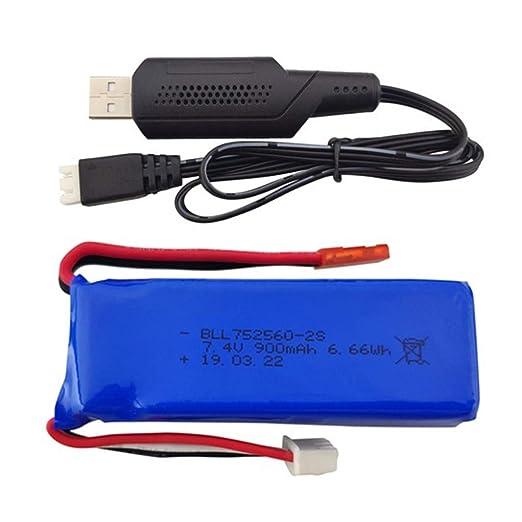BLLRC - Batería de 7,4 V 900 mAh con cable de carga USB para dron XK