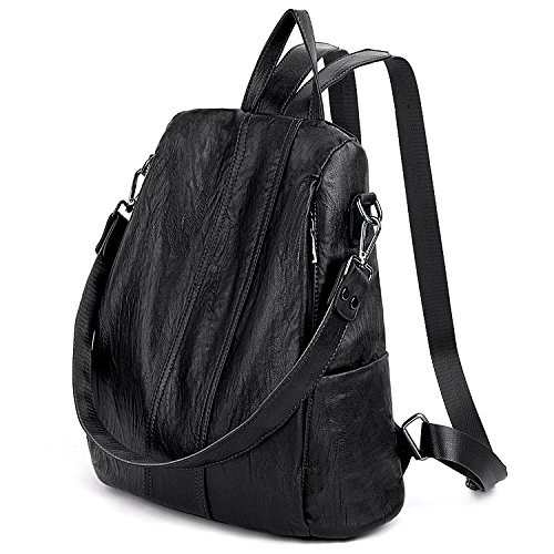 PU Ladies Black Convertible Rucksack Purse Bag Anti Theft Women Backpack UTO Washed Shoulder black Leather 479 xwgXqATz