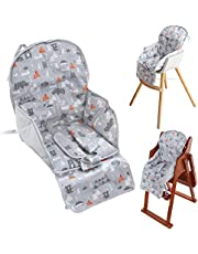 High Chair Pad, Ancho's New Highchair/seat Cushion Film Breathable Pad,with a Comfortable Safety Strap,Cute Pattern,Soft and Comfortable (Green Animal Pattern)