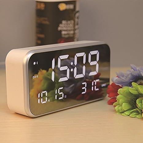 Moderno Mute reloj despertador multifuncional Loud gran Protector de pantalla LED Digital reloj de alarma w