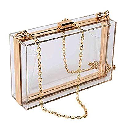 Women Clear Purse Acrylic Clear Clutch Bag, Shoulder Handbag With Removable Gold Chain Strap