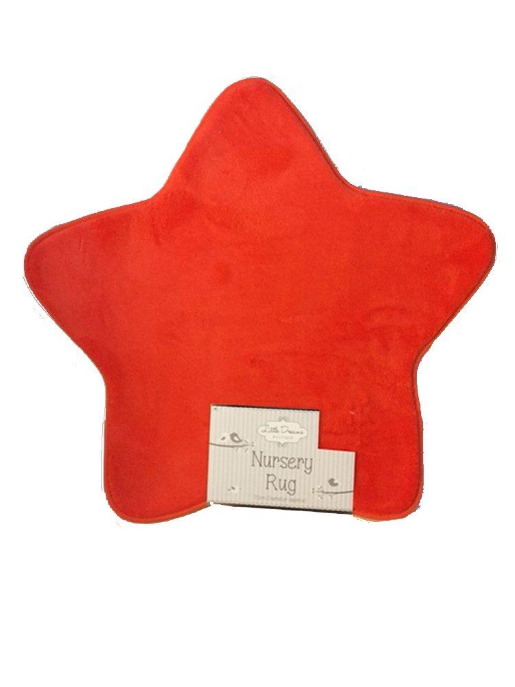 New Little Dreams Baby Supersoft Fluffy Star Shaped Nursery Rug Carpet Orange 70cm Little Dreams Boutique