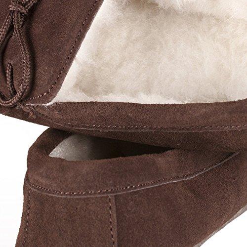 Nordvek - Herren Mokassin-Hausschuhe aus echtem Veloursleder mit Schaffellwolle & Sohle aus Veloursleder - # 423-100 Schokoladenbraun