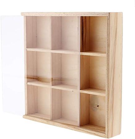 Baosity Caja de Almacenamiento de 9 Rejillas de Madera para Remaches, Tornillos, Herramientas de Cuero para Manualidades: Amazon.es: Hogar