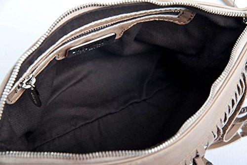 Patty - Borsa Pochette da donna in pelle tortora con frangia a mano, spalla e tracolla. Made in Italy