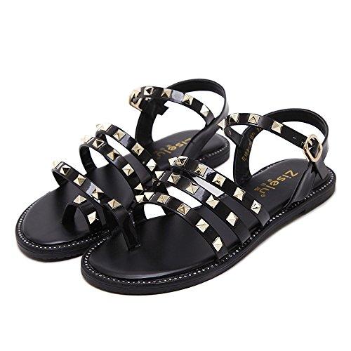 LIVY 2017 verano nuevos zapatos sandalia plana encajen sandalias de punta de la manga del remache zapatos planos Negro
