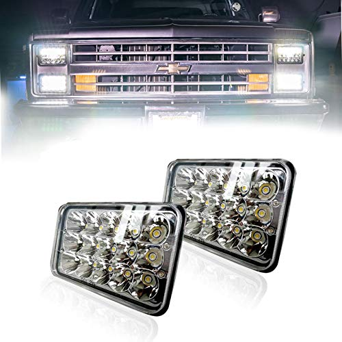 TURBOSII DOT Approved Sealed Beam 4X6 LED Headlight Assemblies Hi/Lo Replace H4651 H4656 Hid Bulb Headlamps KW Kenworth T600 W900 T800 Truck Peterbilt 379 Chevy S10 Blazer RV Freightliner Semi 2PCS