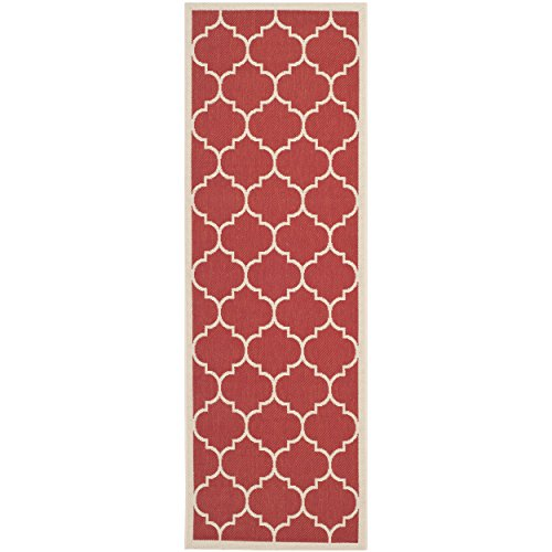 Safavieh Courtyard Collection CY6914-248 Red and Bone Indoor/ Outdoor Runner (2'3