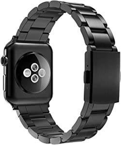 Simpeak Slim Band Compatible with Apple Watch 42mm 44mm Series 6 SE 5 4 3 2 1, Women Men Solid Stainless Steel Business Band Strap Replacement for iWatch 42 44, Black