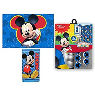 15pc Disney Mickey Mouse Clubhouse Shower Curtain Bath Towel Foam Mat Hooks Set