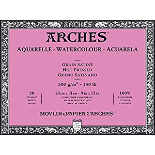 "Arches Watercolor Paper Block, Hot Press, 9"" x 12"", 140 pound"