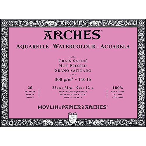 Arches Watercolor Paper Block, Hot Press, 9