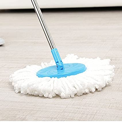 Almand Mall 360° Spin Home Floor Cleaning Easy Advance Tech Rotating Steel Pole with 2 Microfiber Refill Head-Multi Colour