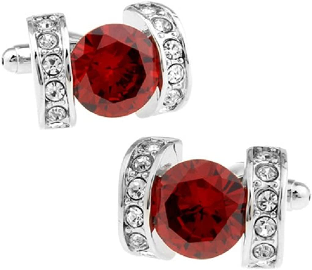 MRCUFF Crystals Red Solitaire Round Clear Accents Pair Cufflinks in Presentation Gift Box & Polishing Cloth