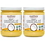Nutiva Organic Coconut Oil With Butter Flavor From Non-Gmo, Steam Refined, Sustainably Farmed Coconuts, 14-Ounces Jars, Pack of 2