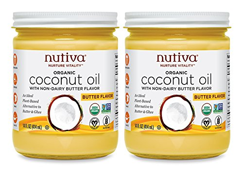 (Nutiva Organic Coconut Oil with Butter Flavor from non-GMO, Steam Refined, Sustainably Farmed Coconuts, 14-ounce (Pack of 2) )