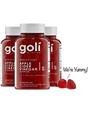 "Goli Nutrition Inc. World's First Apple Cider Vinegar Gummy Vitamins - 3 Pack - (180 Count, Organic, Vegan, Gluten-Free, Non-Gmo, With""The Mother"", Vitamin B9, B12, Beetroot, Pomegranate)"