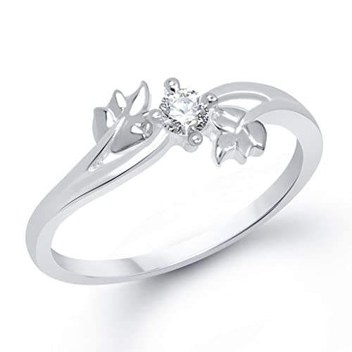 V. K. Jewels Silver Twin Leaf Rhodium Plated Ring for Women Women's Rings at amazon
