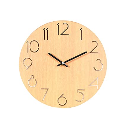 Amazon.com: Vosarea Wall Clock, Wooden Silent Non-Ticking ...