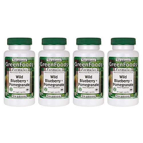(Swanson Wild Blueberry + Pomegranate 60 Veg Capsules (4 Pack))
