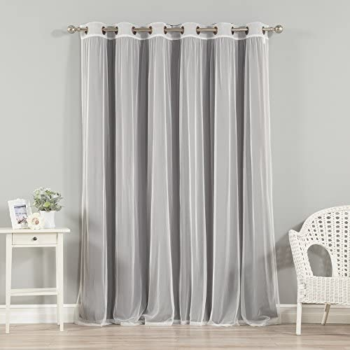Best Home Fashion uMIXm Wide Width Tulle Lace Solid Blackout Curtain Set Antique Bronze Grommet Top Dark Grey 80″ W x 96″ L 1 Blackout Panel and 1 Sheer Panel
