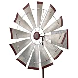 Regal Art & Gift Kinetic 32 inches x 32 inches x 85 inches Metal Stake - Galvanized Windmill Garden Stakes