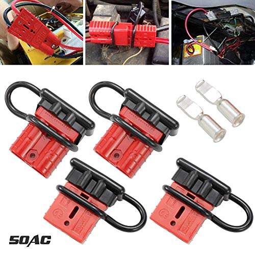 (LITE-WAY 6-10 Gauge Battery Quick Disconnect/Connector Kit - 4pcs 50A Quick Connect/Disconnect Wire Harness Plug for Recovery Winch Trailer Driver Electrical Devices)