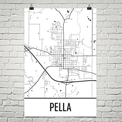 Amazon.com: Pella Iowa Map, Pella IA Art, Pella Print, Pella Poster ...