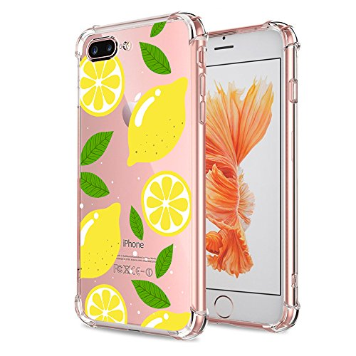 - iPhone 7 Plus Case Lemon, Crystal Clear with Design Yellow Cute Pattern Print Bumper Protective Case for iPhone 7 Plus Flexible Soft Slim Fit Rubber Cover