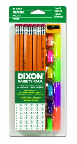 - Dixon Economy Pencil Variety Pack, 14 Number 2 Soft Pencils, 6 Eraser Toppers, 4 Pencil Grips, and Sharpener (44424)