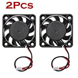 2 Pack Mini Cooling Fan For Computer, Gotd 12V 2-pin Connector Replacement Cooling Pad Cooler, 40MM x 40MM x 10MM (Black)