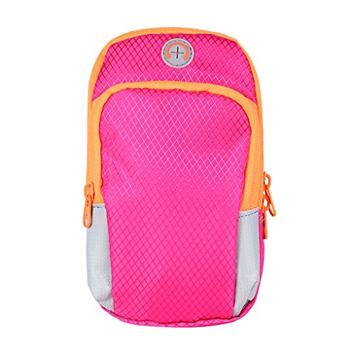 5.7 Inch Case Water Resistant Cell Phone Armband, Singular Point Multifunctional Pockets Workout Running Armbag for iPhone,Galaxy Note and all Sports (Rose)