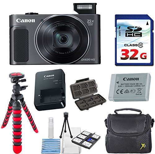 Canon PowerShot SX620 HS Digital Camera (Black) with 32GB High Speed Memory Card + Deluxe Camera Case + Flexible Spider Tripod + Starter Kit & Deluxe Accessory Bundle